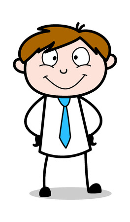 Smiling Face - Office Salesman Employee Cartoon Vector Illustration Illustration