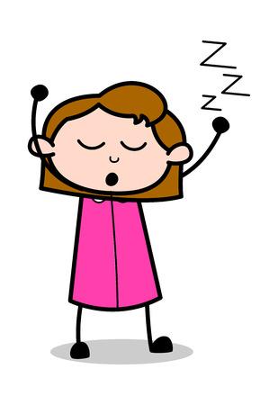 Très fatigué - Retro Office Girl employé Cartoon Vector Illustration