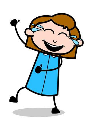Risa alegre - Retro Office Girl Employee Cartoon Vector Illustrationï »¿