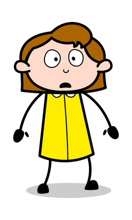 Concerned - Retro Office Girl Employee Cartoon Vector Illustration