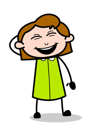 Laughing on Joke - Retro Office Girl Employee Cartoon Vector Illustration