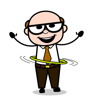 Playing with Hula-Hoop - Retro Cartoon Father Old Boss Vector Illustration
