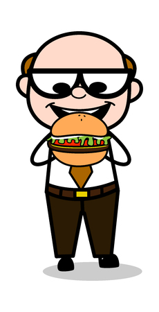 Eating Burger - Retro Cartoon Father Old Boss Vector Illustration  イラスト・ベクター素材