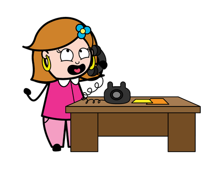 Talking on Phone - Retro Cartoon Female Housewife Mom Vector Illustration
