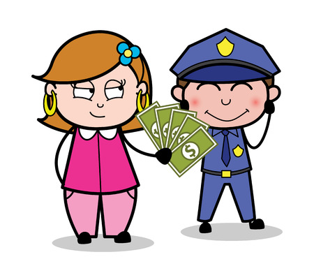 Giving Bribe to a Police Officer - Retro Cartoon Female Housewife Mom Vector Illustration