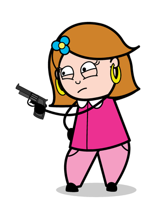 Pointing with Gun - Retro Cartoon Female Housewife Mom Vector Illustration