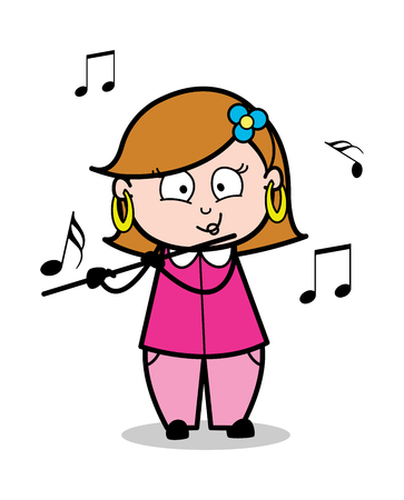 Playing Flute - Retro Cartoon Female Housewife Mom Vector Illustration