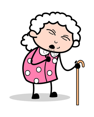 Cough - Old Woman Cartoon Granny Vector Illustration