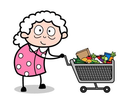Shopping - Old Woman Cartoon Granny Vector Illustration Illustration