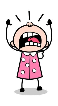 Yelling - Old Woman Cartoon Granny Vector Illustration Illustration
