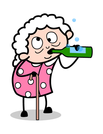 Drunk Old Lady - Old Woman Cartoon Granny Vector Illustration