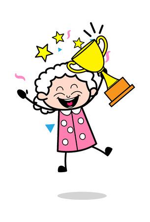 Winner - Old Woman Cartoon Granny Vector Illustration