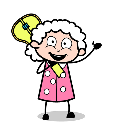 Holding a Guitar and Saying Hello - Old Woman Cartoon Granny Vector Illustration