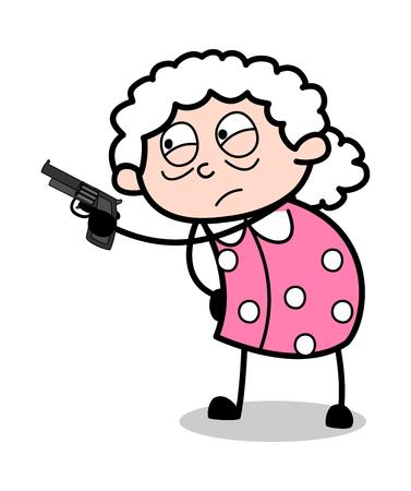 Pistola di puntamento - illustrazione di vettore della nonna del fumetto della donna anziana Vettoriali
