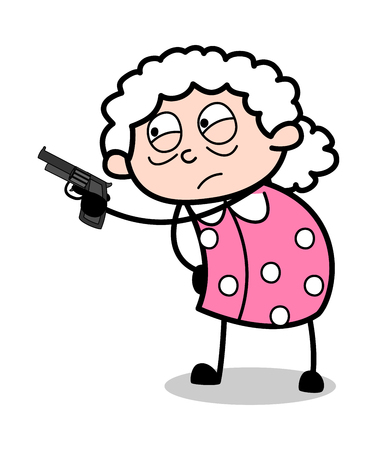 Pointing Gun - Old Woman Cartoon Granny Vector Illustration