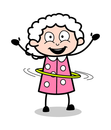 Playing with Hula-Hoop - Old Woman Cartoon Granny Vector Illustration Vettoriali