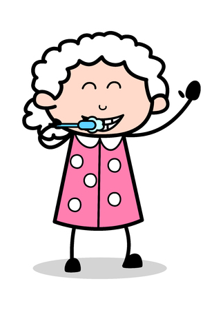 Teeth Cleaning - Old Woman Cartoon Granny Vector Illustration