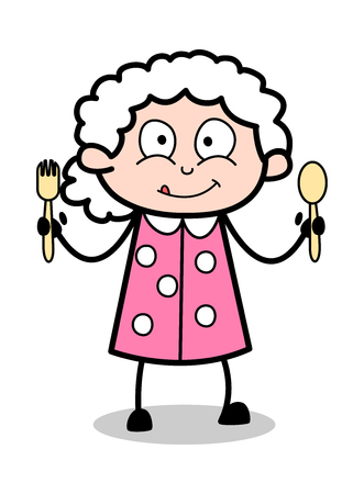 Showing Two Spoons - Old Woman Cartoon Granny Vector Illustration