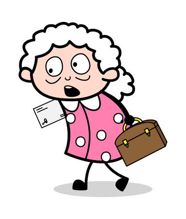 Surprised Old Office Lady - Old Woman Cartoon Granny Vector Illustration Standard-Bild - 123750564
