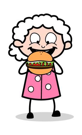 Eating Burger - Old Woman Cartoon Granny Vector Illustration