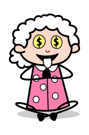 Greed of Money - Old Woman Cartoon Granny Vector Illustration Illustration