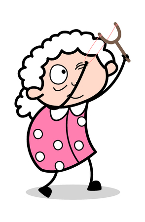 Aiming with Sling Shot - Old Woman Cartoon Granny Vector Illustration