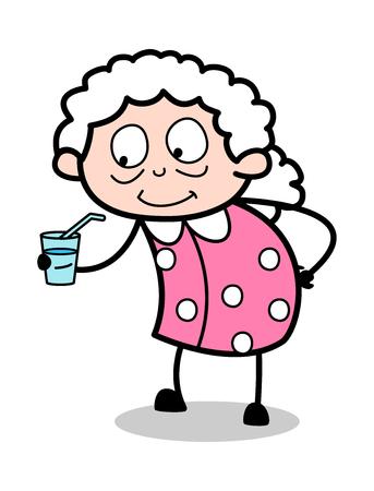 Drinking Energy Drink - Old Woman Cartoon Granny Vector Illustration Illustration