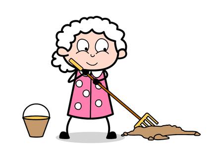 Cleaning Trash - Old Woman Cartoon Granny Vector Illustration