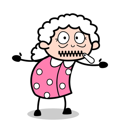 Zipper Mouth - Old Woman Cartoon Granny Vector Illustration