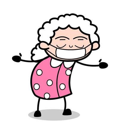 Medical Mask on Face - Old Woman Cartoon Granny Vector Illustration Illustration