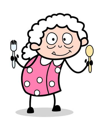Showing Spoons - Old Woman Cartoon Granny Vector Illustration