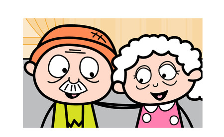 Romantic Old Couple Together - Old Woman Cartoon Granny Vector Illustration