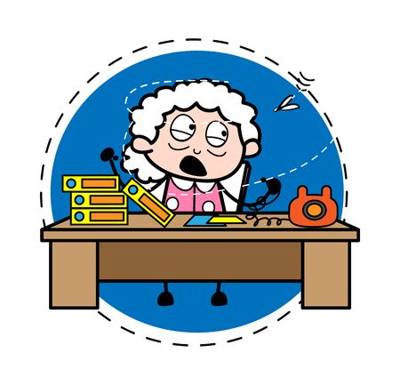 Irritated Businesswoman - Old Woman Cartoon Granny Vector Illustration Illustration