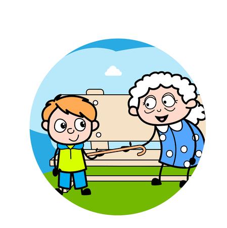 Grandma Playing with Grandson - Old Woman Cartoon Granny Vector Illustration Illustration