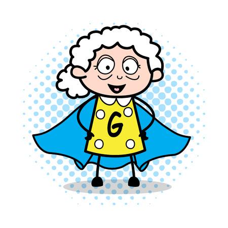 Super Grandma - Old Woman Cartoon Granny Vector Illustration