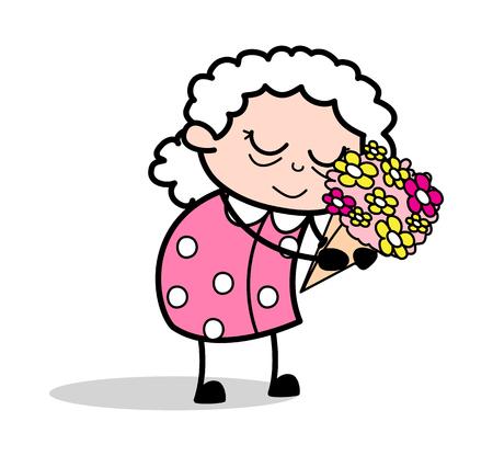 Presenting a Bouquet - Old Woman Cartoon Granny Vector Illustration