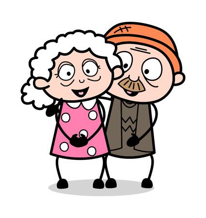Old Happy Couple - Old Woman Cartoon Granny Vector Illustration