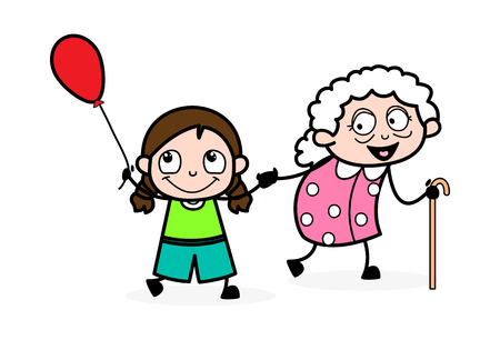 Playing with Grand-Daughter - Old Woman Cartoon Granny Vector Illustration 일러스트