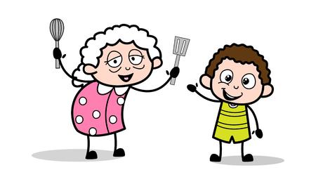 Grandma Playing with Grandson - Old Woman Cartoon Granny Vector Illustration Çizim