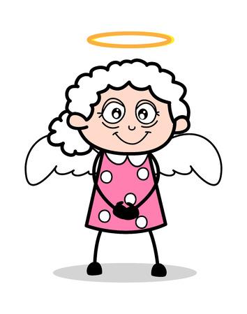 In Angel Costume - Old Woman Cartoon Granny Vector Illustration