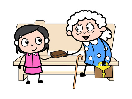 Grandma Giving Item to Her Grand Daughter - Old Woman Cartoon Granny Vector Illustration