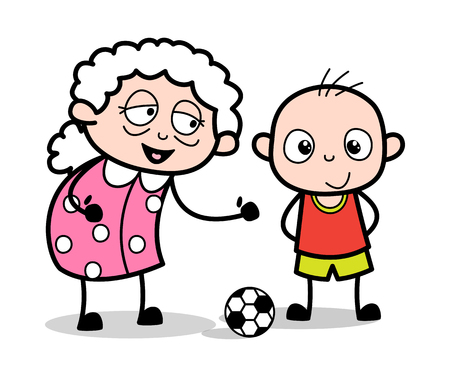 Old Lady Playing with Kid - Old Woman Cartoon Granny Vector Illustration