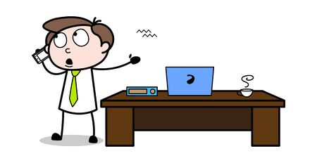 Dealing with Customer on Phone - Office Businessman Employee Cartoon Vector Illustration