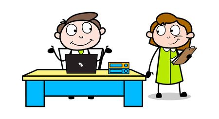 Two Colleagues Having Conversation in Office - Office Businessman Employee Cartoon Vector Illustration Illustration