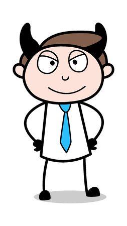 Devil Smile - Office Businessman Employee Cartoon Vector Illustration