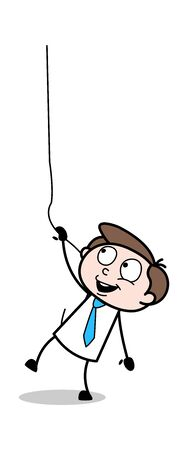 Hanging on a Rope - Office Businessman Employee Cartoon Vector Illustration