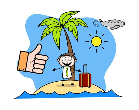 Enjoying Vacation at Beach - Office Businessman Employee Cartoon Vector Illustration