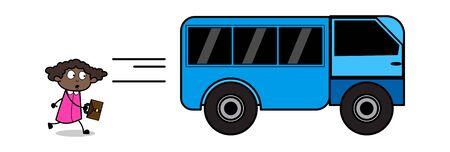 Running Behind Bus - Retro Black Office Girl Cartoon Vector Illustration 일러스트