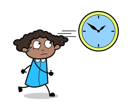 Courir pour attraper le temps - Retro Black Office Girl Cartoon Vector Illustration