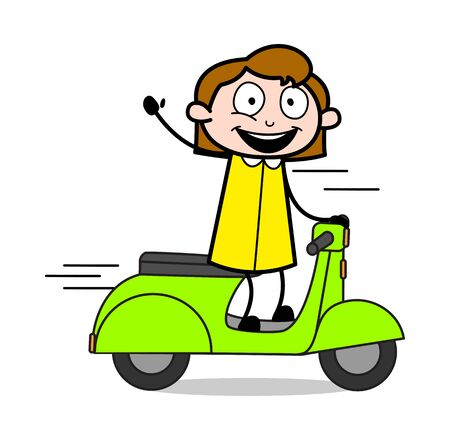 Waving Hand While Riding Scooter - Retro Office Girl Employee Cartoon Vector Illustration
